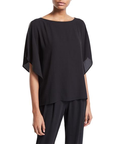Eileen Fisher Open-Sleeve Silk Crepe Blouse, Petite