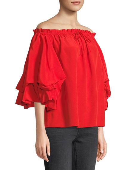Diane von Furstenberg Georganne Off-Shoulder Tucked-Sleeve Top