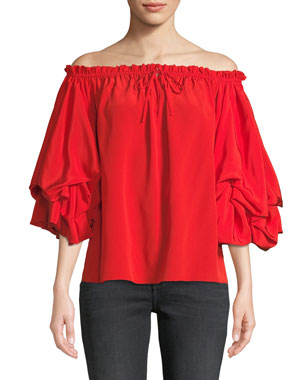 60e12a33363e07 Diane von Furstenberg Georganne Off-Shoulder Tucked-Sleeve Top
