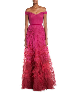 de334620d6bc Marchesa Notte Off-the-Shoulder Ombre Textured Gown