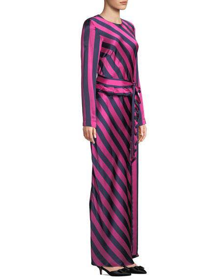 Maggie Marilyn Get Em Girl Striped Silk Long-Sleeve Dress