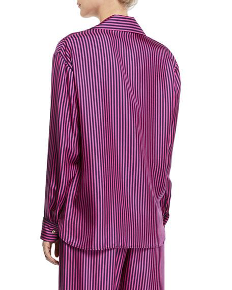 Maggie Marilyn Hand In My Hand Striped Silk Button-Down Shirt