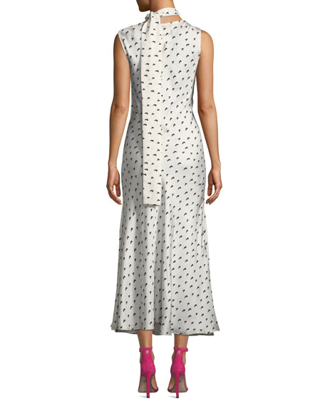 Maggie Marilyn Strength In Vulnerability Printed Tie-Neck Long Dress