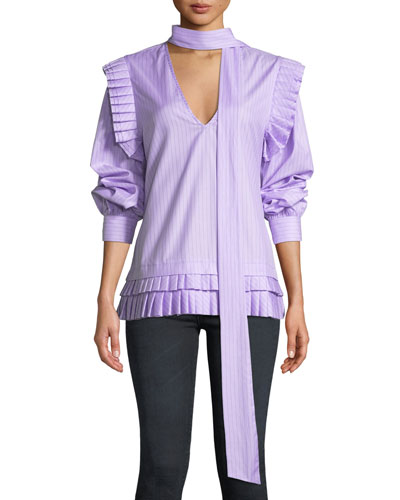 I'll Catch You If You Fall Pinstripe Pleated Top
