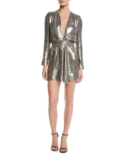 Shaina Plunging Metallic Short Dress