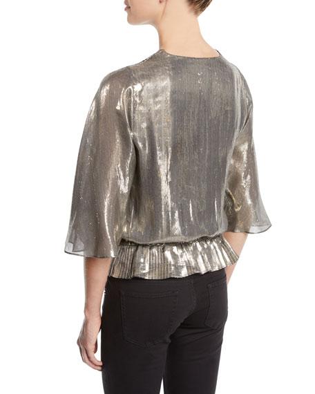 Ramy Brook Tonya Metallic Peplum Short-Sleeve Top