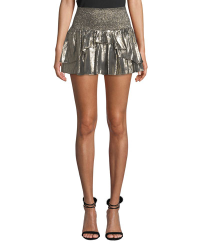 Eva Smocked Metallic Ruffle Mini Skirt