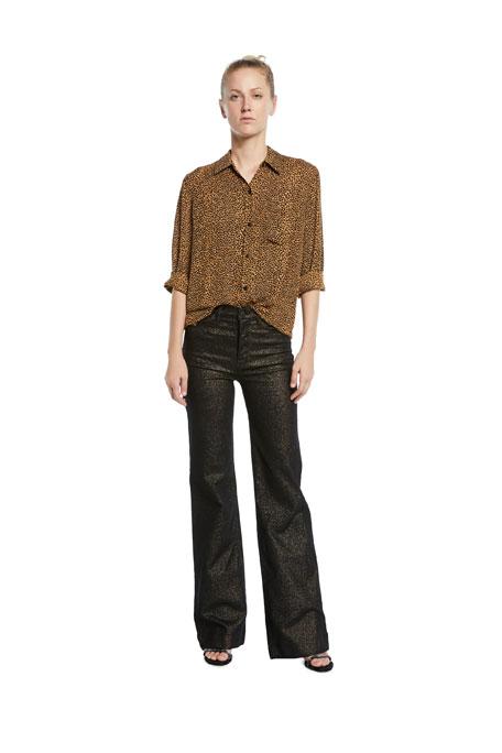 Hudson Holly High-Rise Metallic Wide-Leg Jeans