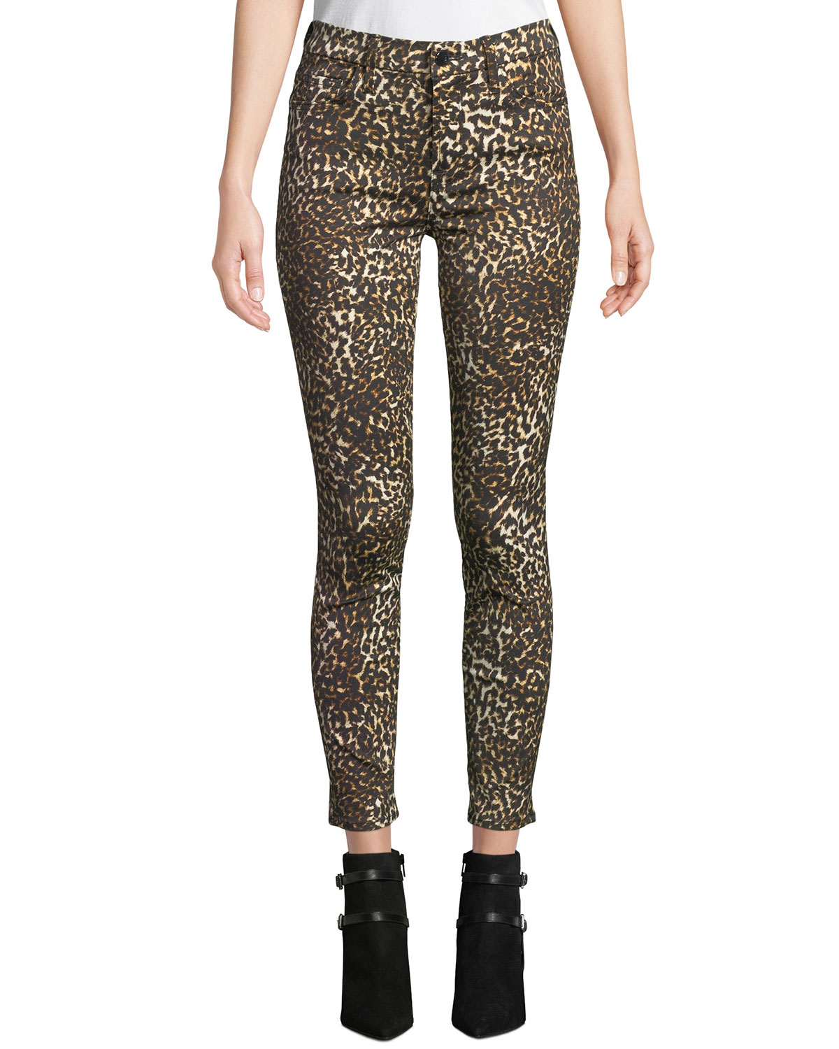 f6810a166a40 Jen7 by 7 for All Mankind Leopard-Print Skinny Ankle Jeans | Neiman ...
