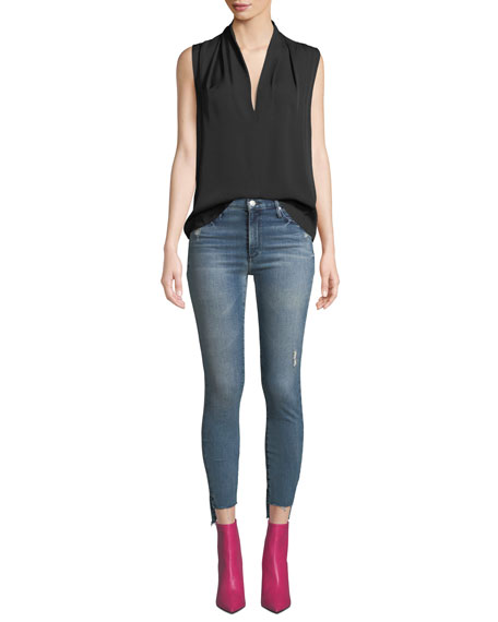Black Orchid Miranda Step-Hem Distressed High-Rise Skinny Jeans