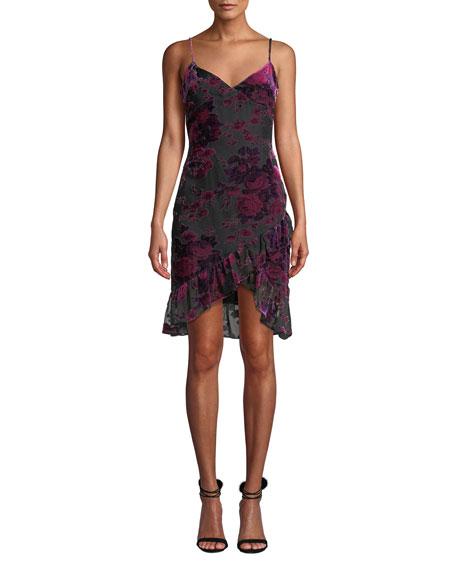Likely Shana Velvet Burnout Ruffle Cocktail Dress