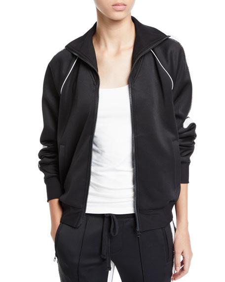 Embellished Zip-Front Track Jacket With Racer Stripes in Black