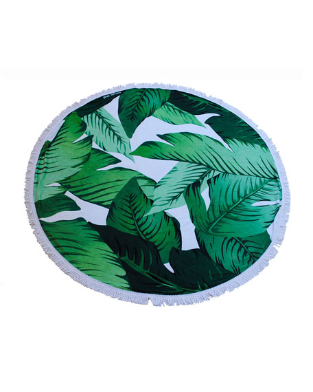 Image 1 of 2: Yoga Zeal Banana Leaf Round Beach Towel