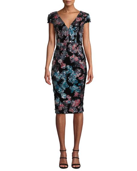 Dress The Population Allison Sequin & Velvet V-Neck Dress