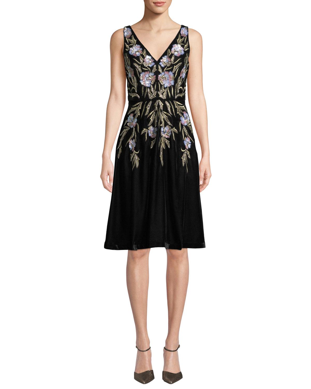Aidan Mattox V Neck 3d Floral Embroidered Velvet Dress W