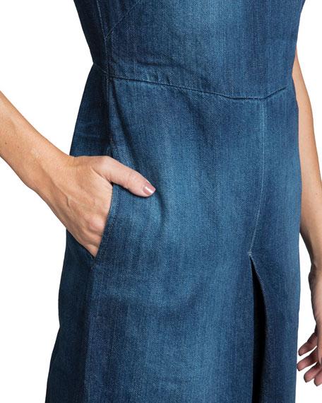 PRPS Leaf High-Neck Wide-Leg Denim Jumpsuit