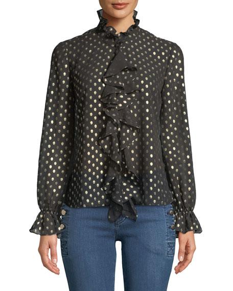 Bardot Penelope Metallic Dot-Print Ruffle Long-Sleeve Top