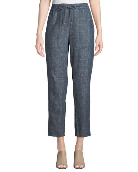 Eileen Fisher Petite Chambray Drawstring-Waist Straight-Leg Ankle Pants