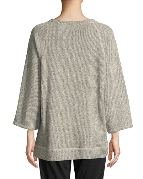 Eileen Fisher Petite Boat-Neck 3/4-Sleeve Twisted Terry Organic Cotton Top