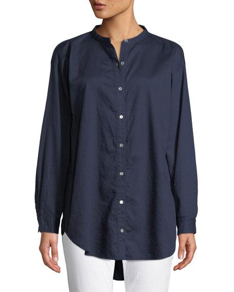 Eileen Fisher Mandarin-Collar Button-Front Shirt