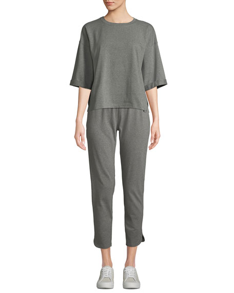 Eileen Fisher Crewneck Elbow-Sleeve Heathered Jersey-Knit Top