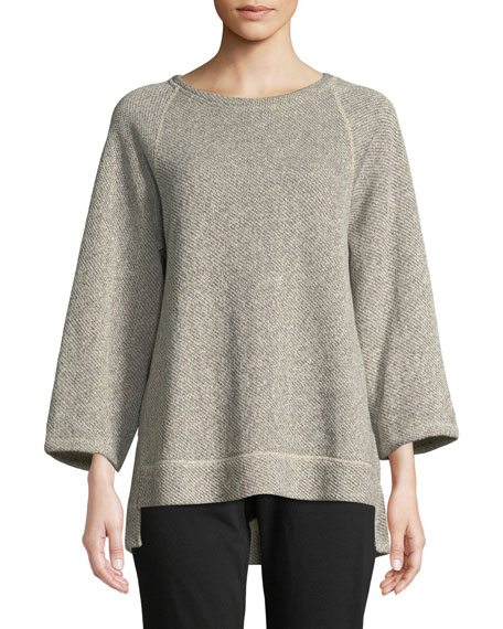 Eileen Fisher Boat-Neck 3/4-Sleeve Twisted Terry Organic Cotton Top