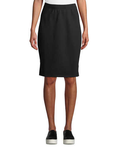 Petite Organic Cotton Terry Pencil Skirt