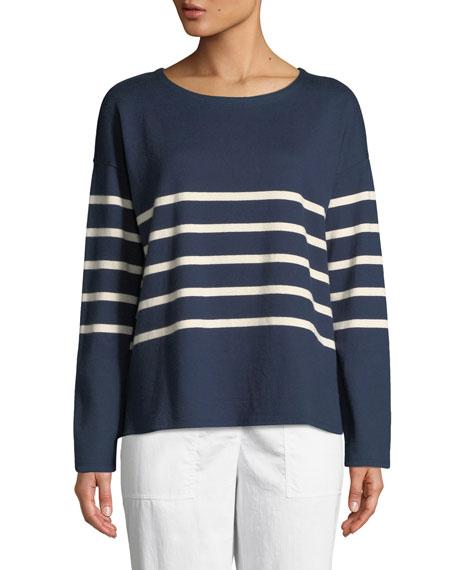 Eileen Fisher Long-Sleeve French Stripe Tee
