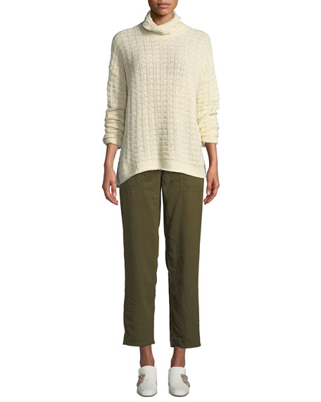Eileen Fisher Petite Soft Organic Twill Cropped Taper Pants