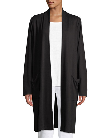 Eileen Fisher Long Open-Front Knit Cardigan with Pockets