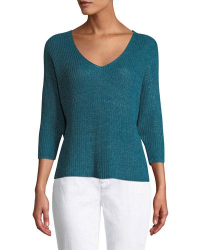 Organic Linen 3/4-Sleeve V-Neck Sweater