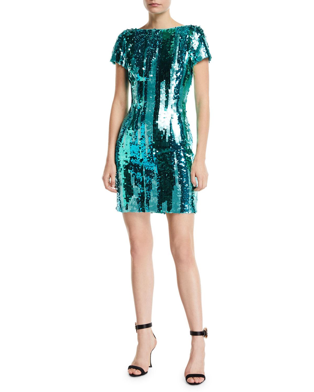 bcfb3a628e838 Aidan by Aidan MattoxStriped Sequin Short-Sleeve Mini Cocktail Dress