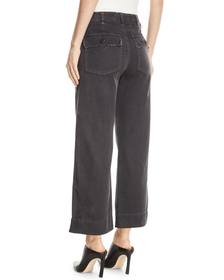 AMO Denim Army Wide-Leg High-Waist Cropped Jeans