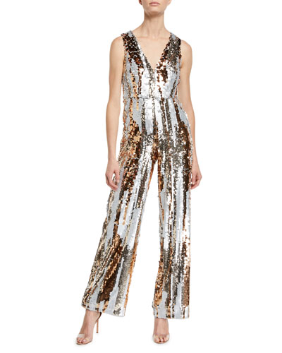 Sequin Striped V-Neck Jumpsuit