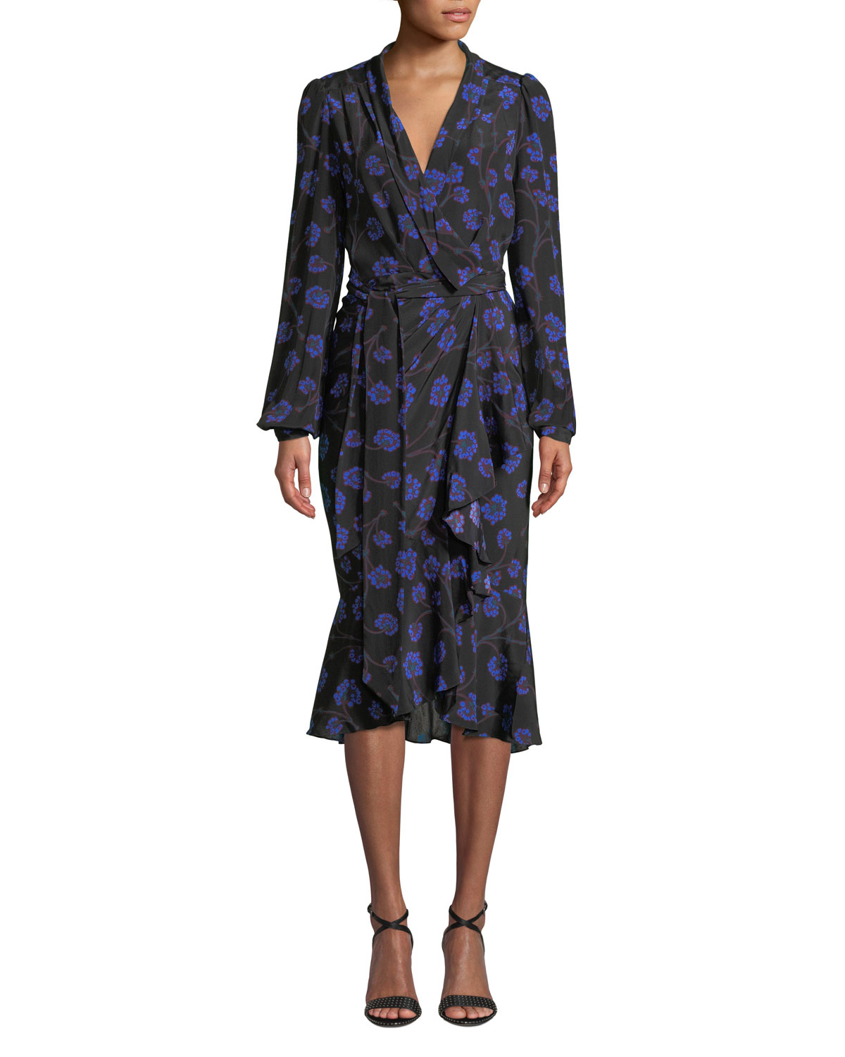 7cce509822 Diane von Furstenberg Carla Floral-Print Long-Sleeve Wrap Dress ...