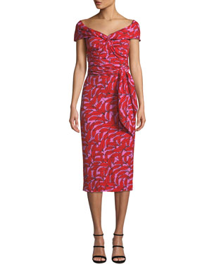 2af3edfd7f7ee6 Diane von Furstenberg Delphine Printed Off-Shoulder Cocktail Dress