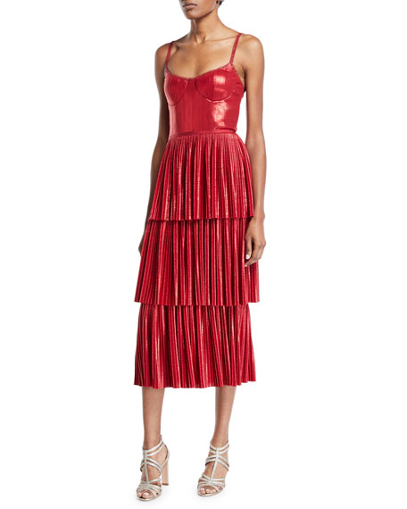 Marchesa Notte PLEATED LAME TIERED COCKTAIL DRESS W/ METALLIC TRIMS