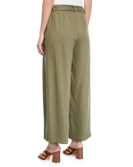 Eileen Fisher Heavy Tencel® Twill Wide-Leg Pants w/ Tie-Waist