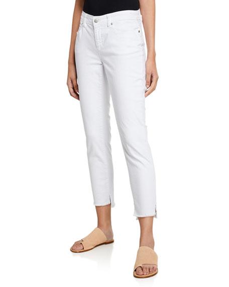 Eileen Fisher Frayed Step-Hem Slim Jeans, Plus Size