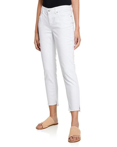 Frayed Step-Hem Slim Jeans