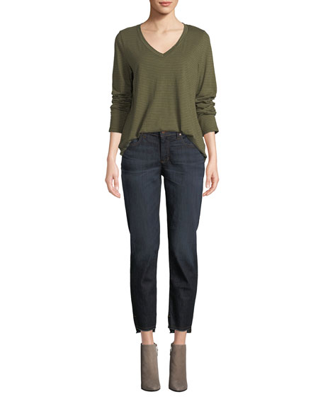 Eileen Fisher Petite Soft Denim Raw-Edge Ankle Jeans