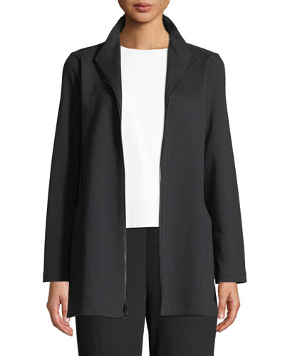 Petite Travel Ponte Zip-Front Jacket