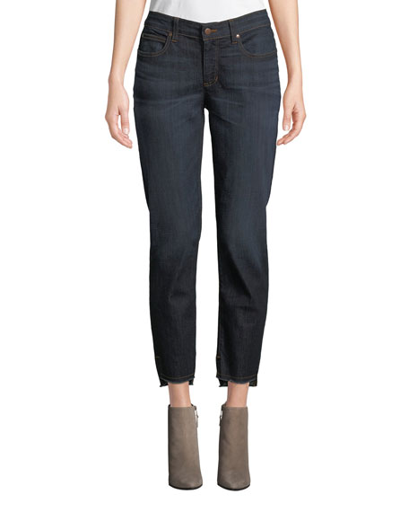 Eileen Fisher Soft Denim Raw-Edge Ankle Jeans, Plus