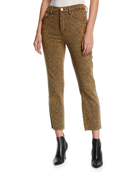 Current/Elliott The Stiletto High-Rise Leopard-Print Jeans