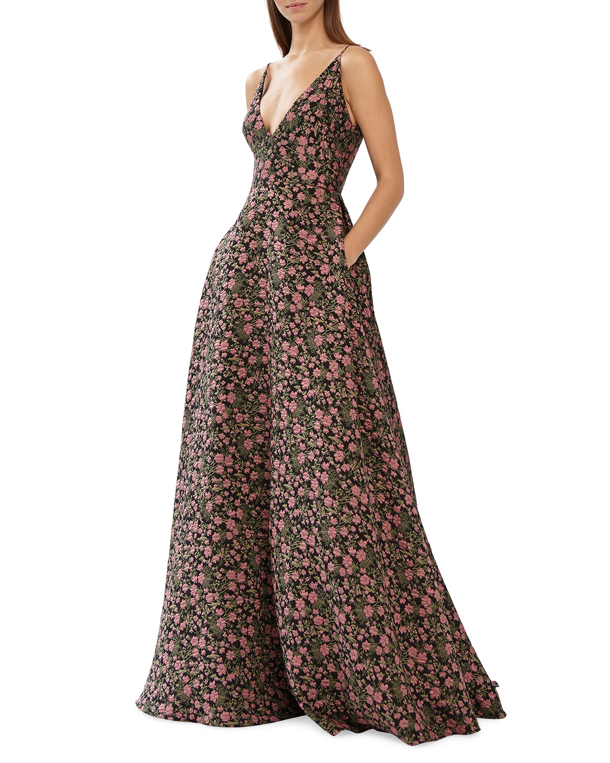 0f399a276ad2 ML Monique Lhuillier Sleeveless V-Neck Floral Jacquard Ball Gown w/  Pockets. Neiman Marcus
