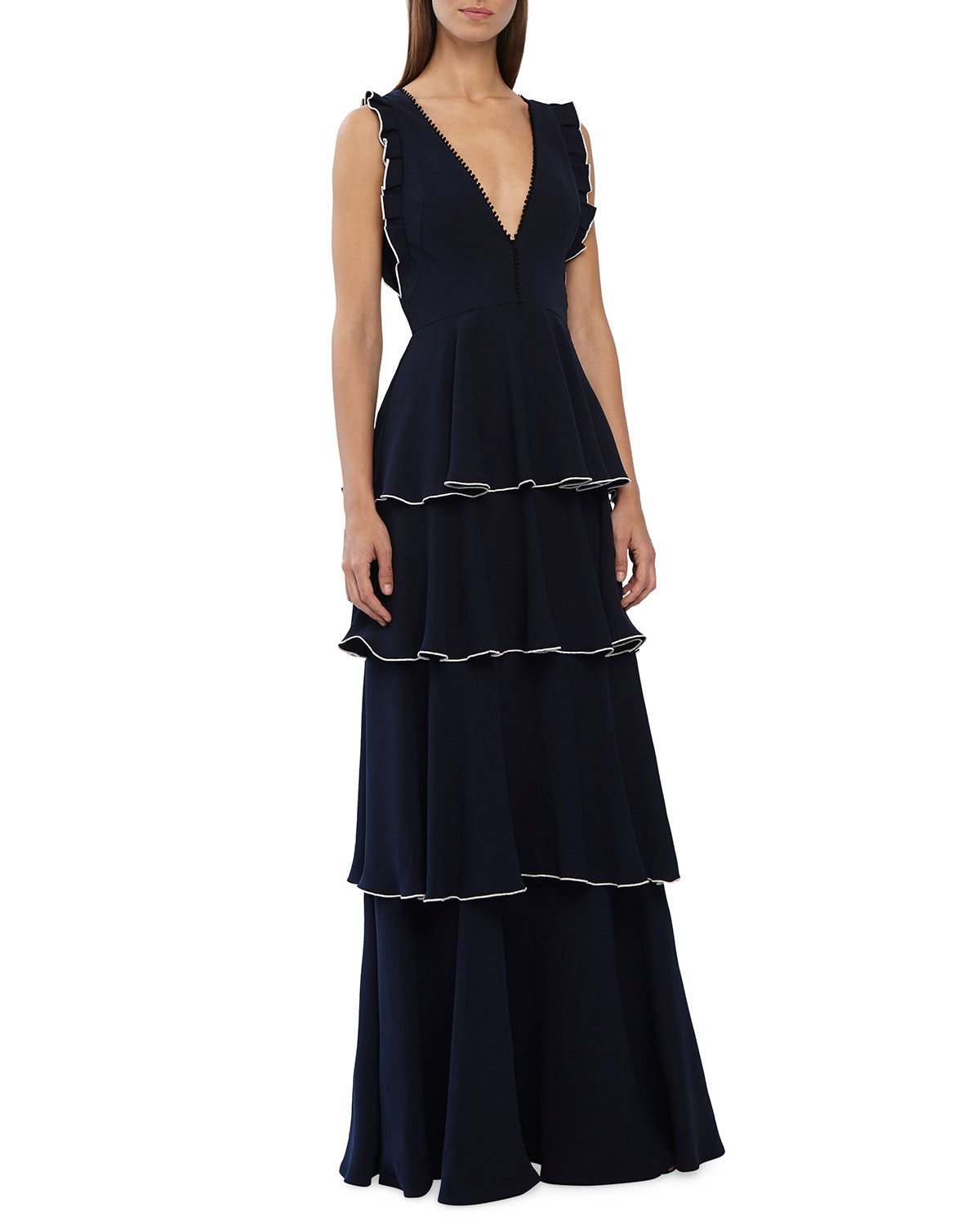 a3272fae5e4f ML Monique Lhuillier Sleeveless V-Neck Layered Crepe A-Line Dress w/ Ruffle