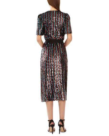 ML Monique Lhuillier Short-Sleeve Multicolor Sequin Wrap Dress