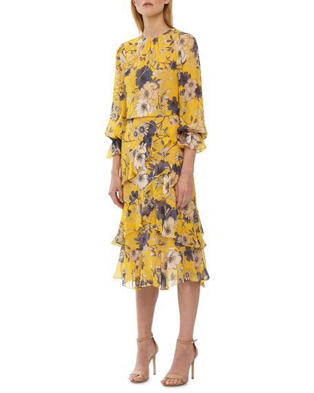 ML Monique Lhuillier Crewneck 3/4-Sleeve Floral-Print Midi Dress w/ Ruffle Detail