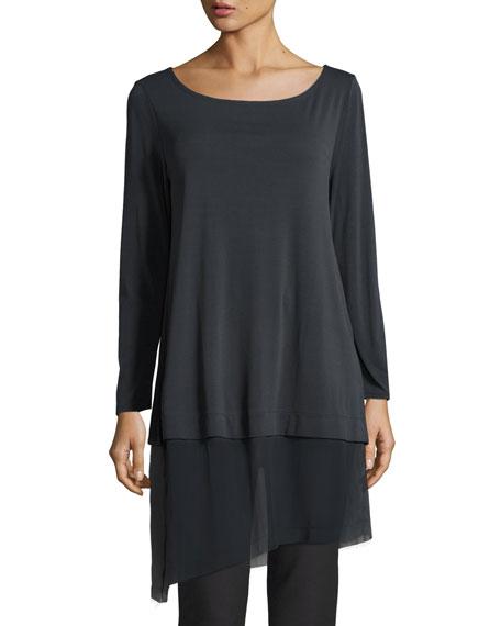 Eileen Fisher Petite Bateau-Neck Layered Tunic w/ Asymmetric
