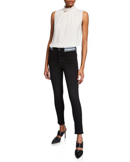 "Veronica Beard Kate 10"" Rise Skinny Jeans w/ Striped Waistband"
